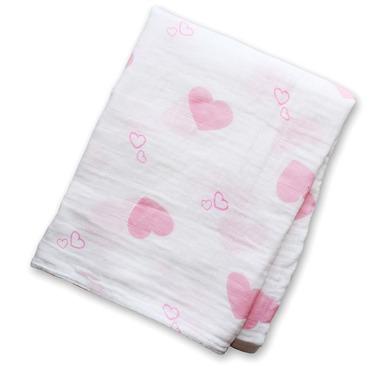 Kocyk Muślinowy Różowe Serca Lulujo