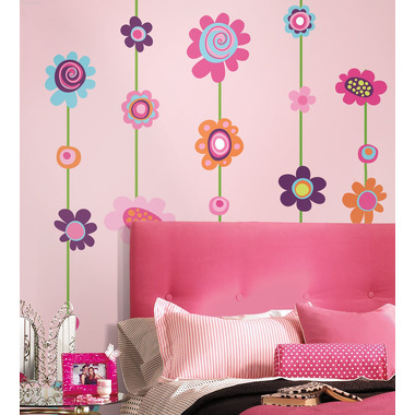 RoomMates, naklejki wielokrotnego użytku - Kolorowe kwiaty - paski