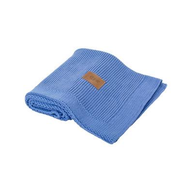 Poofi, tkany kocyk z bawełny organicznej 75x90cm - Chabrowy