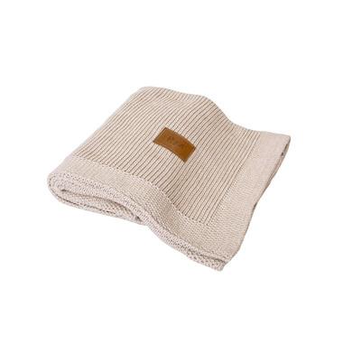 Poofi, tkany kocyk z bawełny organicznej 75x90cm - Beżowy