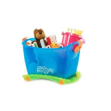 Trunki, kuferek na zabawki na kółkach niebieski