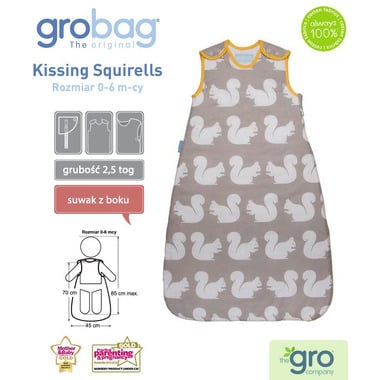 Gro Company, Śpiworek Grobag Kissing Squirells - grubość 2,5 tog 18-36 m