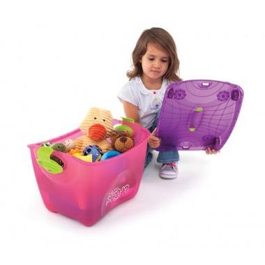 Trunki, kuferek na zabawki na kółkach różowy
