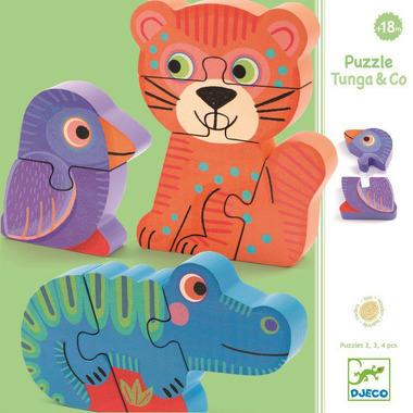 Djeco, puzzle drewniane pionowe Tunga&co