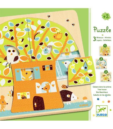 Puzzle dla najmłodszych 3 plansze Drzewo Djeco