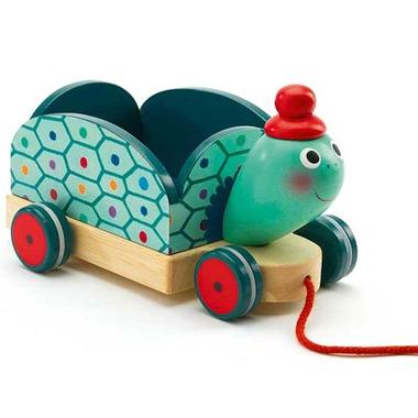 Djeco, drewniany wózek żółw do ciągnięcia