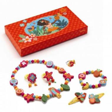 Djeco, zestaw drewnianej biżuterii Hawaje