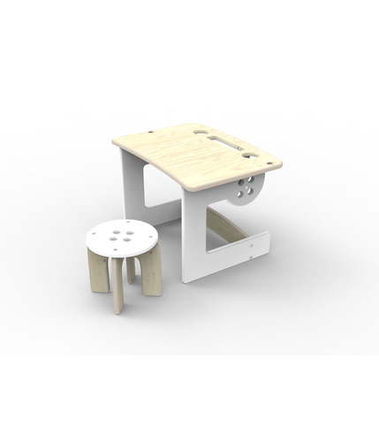 Guzik - biurko dla dziecka z taboretem biały Planeco