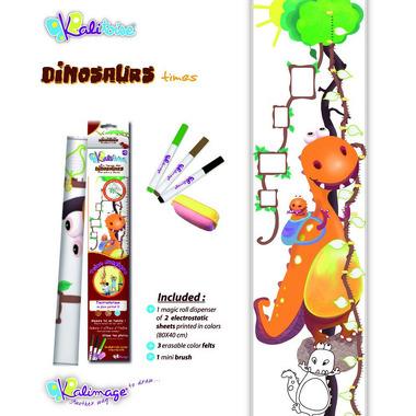 Dinozaury tabela wzrostu – elektrostatyczna folia do malowania Kalimage