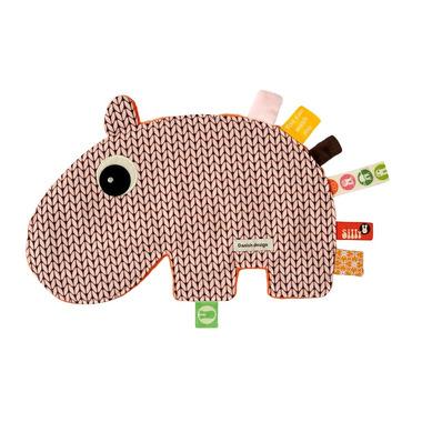 Kocyk przytulanka z metkami Hipopotam - zawieszka do smoczka