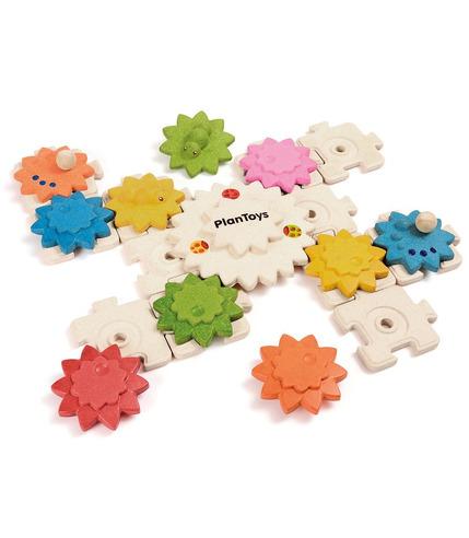 Drewniane puzzle koła zębate deluxe Plan Toys