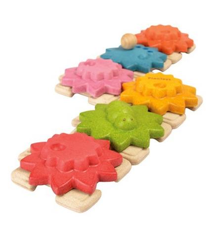 Drewniane puzzle koła zębate standard Plan Toys