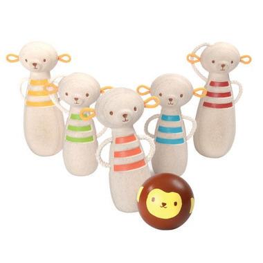 Drewniane kręgle małpki Plan Toys