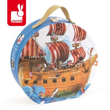 Janod, puzzle podłogowe w walizce Statek Piracki 39 elementów,