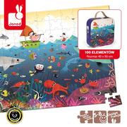 Janod, puzzle w walizce Podwodny świat 100 elementów,