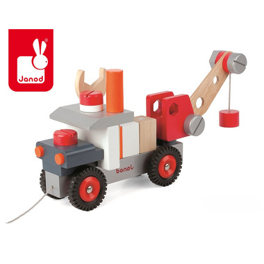 Janod, ciężarówka z dźwigiem do składania drewniana duża,
