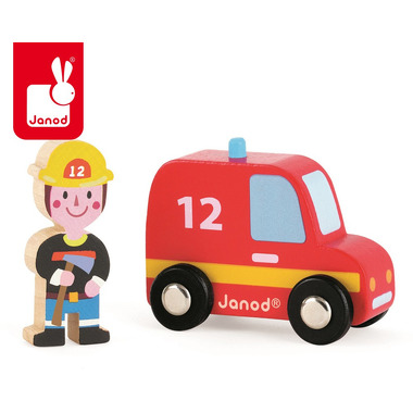 Janod, wóz strażacki ze strażakiem zestaw drewniany,