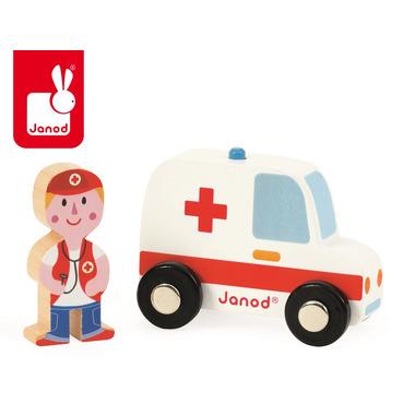 Janod, ambulans z lekarzem zestaw drewniany,