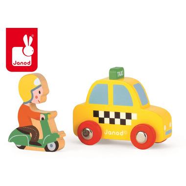 Janod, taksówka i skuter zestaw drewniany ,