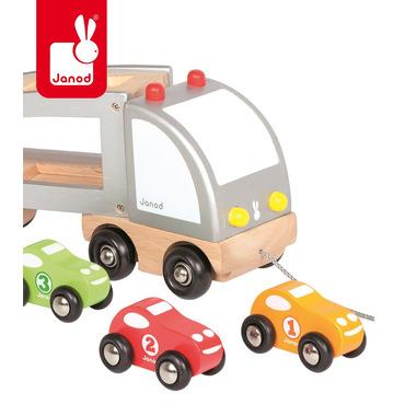 Janod, samochód drewniany laweta do ciągnięcia,