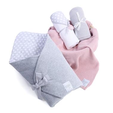 Wyprawka 3w1 Rożek Grey Dots , ręcznik, bawełniany kocyk Color Stories