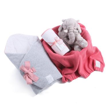 Wyprawka 3w1 Rożek MilkyWay Peach , ręcznik, bawełniany kocyk Color Stories