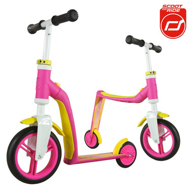 Highwaybaby 2w1 hulajnoga i rowerek Pink, Scootandride