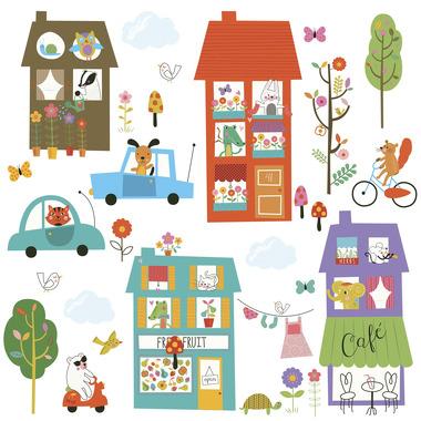 RoomMates, naklejki wielokrotnego użytku - Wesołe miasteczko
