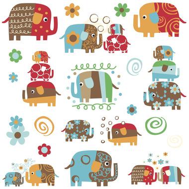 RoomMates, naklejki wielokrotnego użytku - Kolorowe słonie