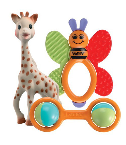 Żyrafa Sophie z grzechotką marakes i gryzakiem pszczółką