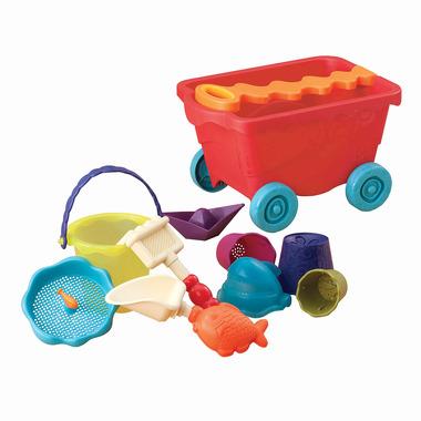 Btoys, wózek-wagonik z wygodną rączką, wypełniony akcesoriami do zabawy w piasku czerwony TRANSPARENTNY