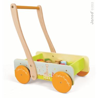 Janod, wózek chodzik z klockami Żyrafa Sophie,