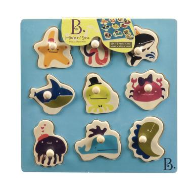Btoys, drewniane puzzle, sortery kształtów z motywami morskimi B.Toys
