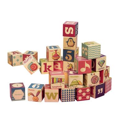 Btoys, drewniane klocki w drewnianej tacy B.toys