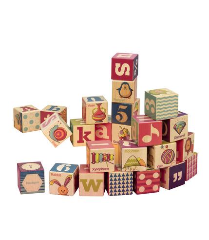 Drewniane klocki w drewnianej tacy B.toys