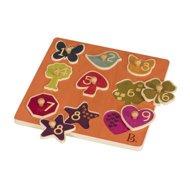 Btoys, drewniane puzzle, sortery kształtów z cyferkami B.Toys