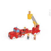 Janod, straż pożarna drewniana duża z 4 postaciami,