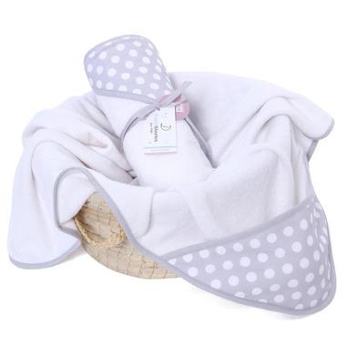 Ręcznik z kapturem Grey Dots 0-4 LAT