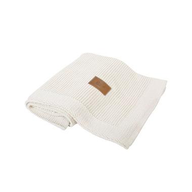 Poofi, tkany kocyk z bawełny organicznej 75x90cm - Kremowy