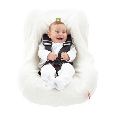 Pokrowiec bawełniany frotte na fotelik samochodowy - NATI NATURALI kremowy