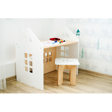 Kajtek - biurko dla dziecka z taboretem białe Planeco