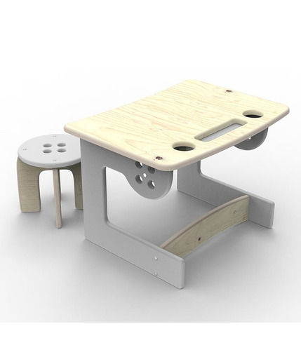 Guzik - biurko dla dziecka z taboretem szare Planeco