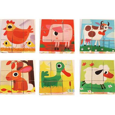 Djeco, drewniane klocki puzzle - Zwierzęta