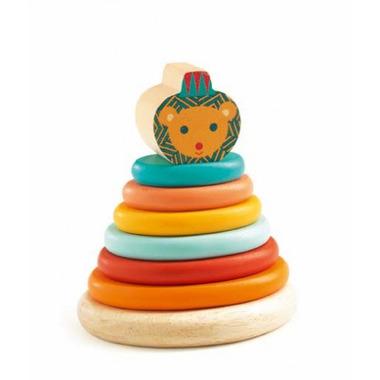 Djeco, drewniana piramida - Junzo Lion