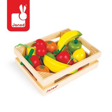 Janod, owoce drewniane 12 szt. w skrzyneczce