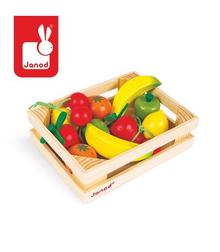 Owoce drewniane 12 szt. w skrzyneczce