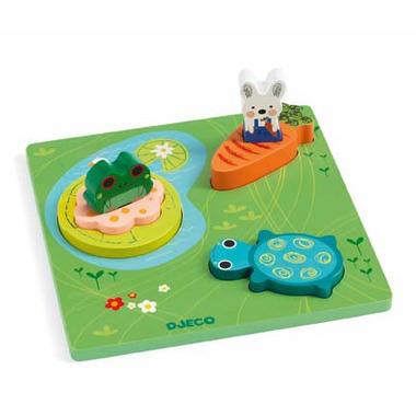 Djeco, Puzzle drewniane 3-warstwowe FROGY