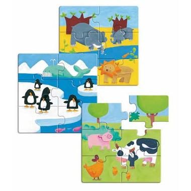 Djeco, drewniane puzzle sześcioelementowe 3 obrazki zwierzątka