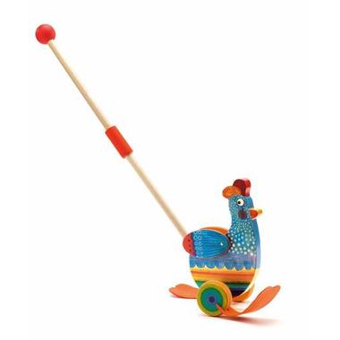 Djeco, drewniana zabawka do pchania KURKA BETTY