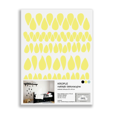 Naklejki ścienne krople żółte